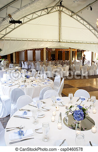 Under a big tent during a wedding event - csp0460578