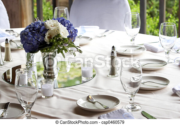 Dining table set for a wedding or corporate event - csp0460579