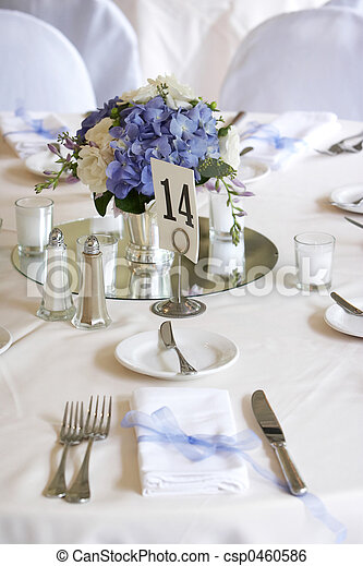 Dining table set for a wedding or corporate event - csp0460586