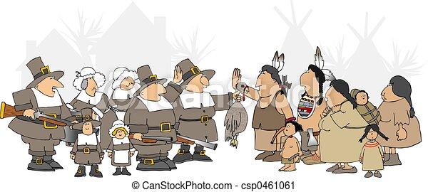 Pilgrim And Indian Clipart
