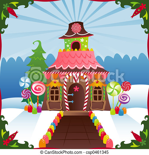 Candy House Drawing Snowy Gingerbread House
