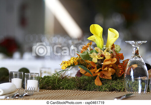 Dining table set for a wedding or corporate event - csp0461719