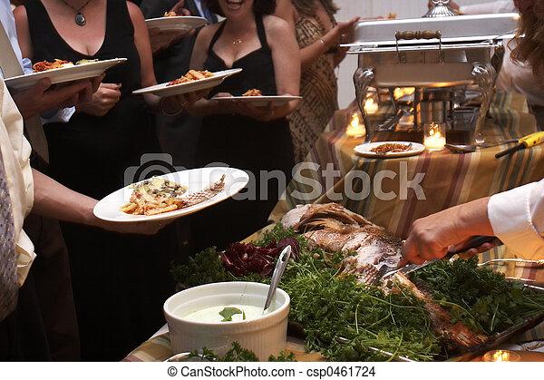 dinner being served at a wedding - csp0461724