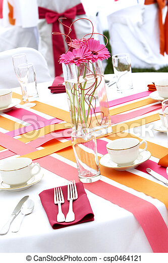 Wedding table set for fun dining during a banquet event - csp0464121