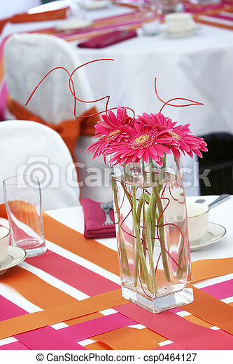 Wedding table set for fun dining during a banquet event - csp0464127