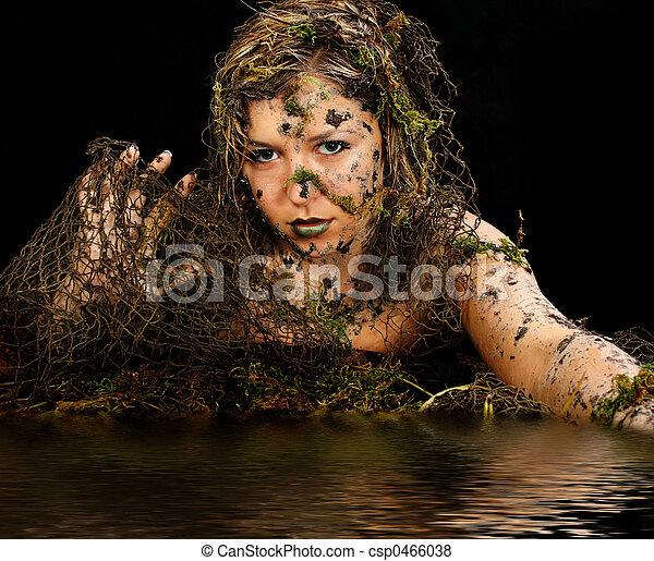 セクシー, 泥地, 生きもの. のまわり, 黒, 泥, 美しい女性, 上に ...