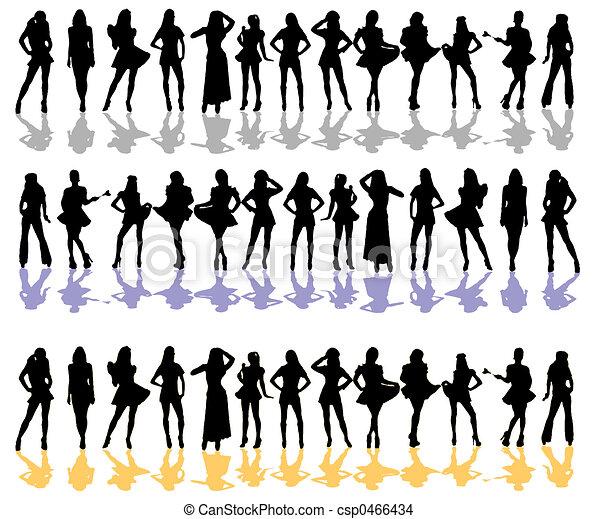 Femmes, silhouette, couleur - csp0466434