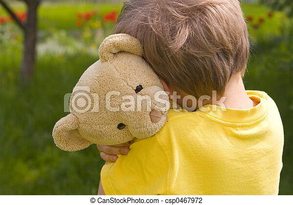 boy with bear - csp0467972