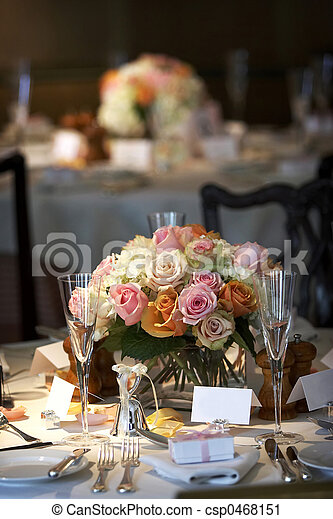 Dining table set for a wedding or corporate event - csp0468151