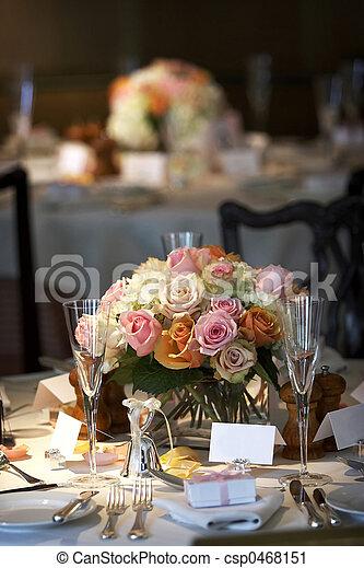 Cenar, tabla, Conjunto, para, Un, boda, o, corporativo, acontecimiento - csp0468151