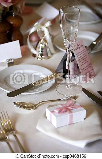 Dining table set for a wedding or corporate event - csp0468156