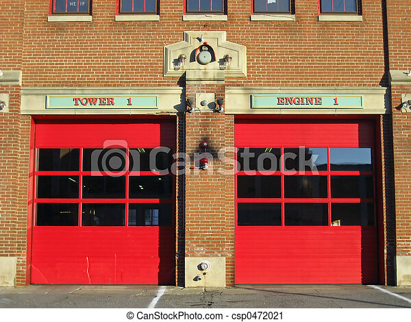 Stock Photography Of Fire Station Detail Two Bright Red
