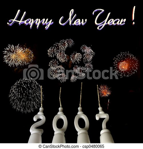 Stock Images of New Year 2007 - 5 - New Year celebration: candles ...