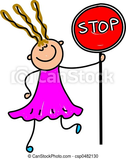 Stock Illustration of stop kid - happy little girl holding a stop sign ...