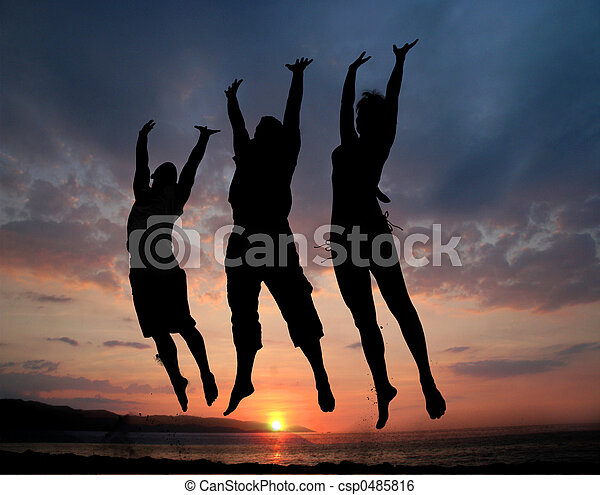 Three people jumping - csp0485816