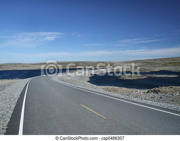 Scenic road among lakes