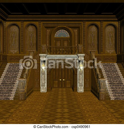 Clipart of Haunted Mansion - 3D Render csp0490961 - Search Clip ...