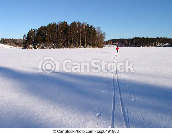 skiing on lake ice - csp0491988