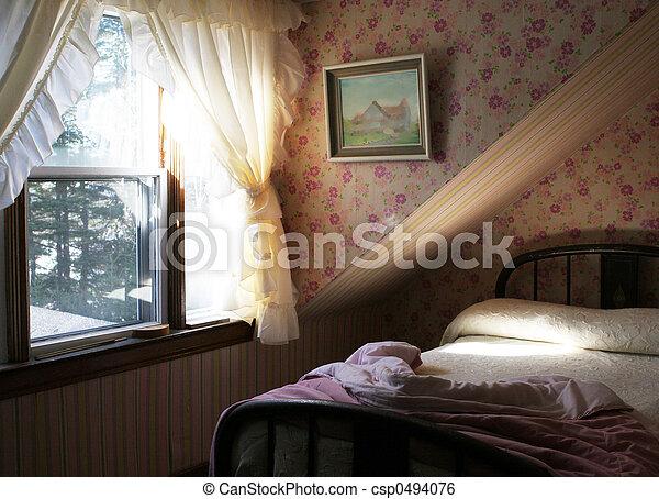Stock beeld van mooi roze slaapkamer meisje licht vloeiend door csp0494076 zoek - Mooi slaapkamer meisje ...