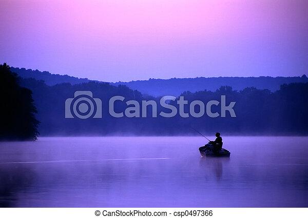 Twilight Fisherman - csp0497366