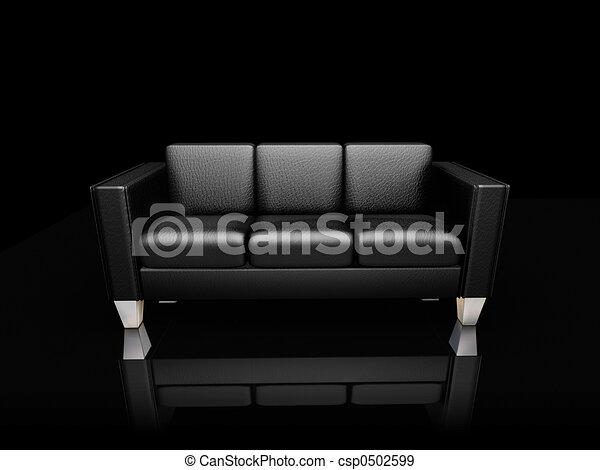 illustration de noir cuir canap233 3d render noir