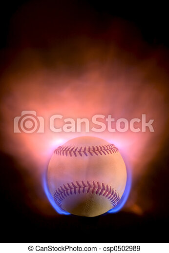An explosive baseball with blue and orange flames