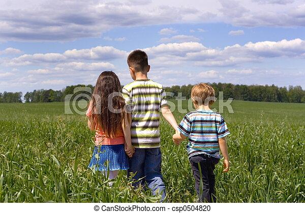 children on a meadow - csp0504820
