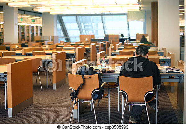 Boy in the library - csp0508993