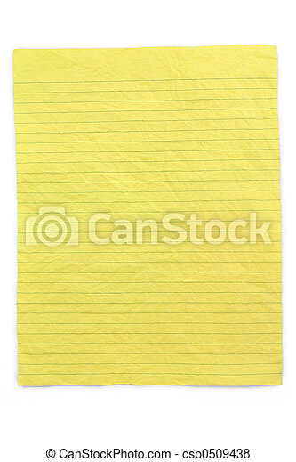 crumpled yellow lined paper - csp0509438