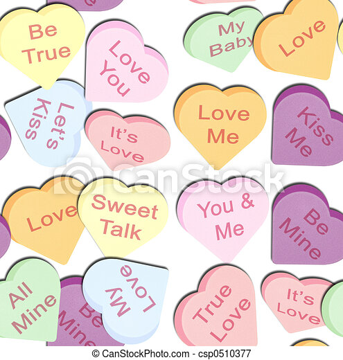 Candy Hearts Drawing Repeating Hearts an