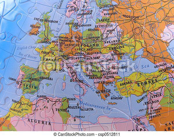 Globe Map Puzzle - Europe - csp0512811