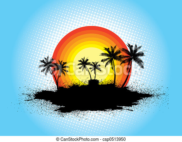 Grunge palm trees - csp0513950
