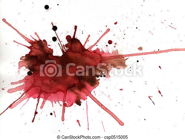 Red aquarelle splash