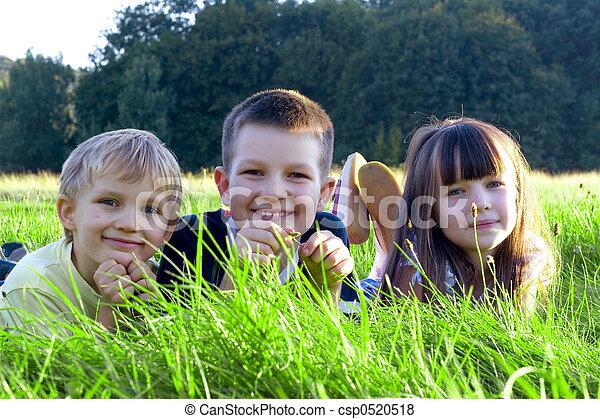 children on a meadow - csp0520518