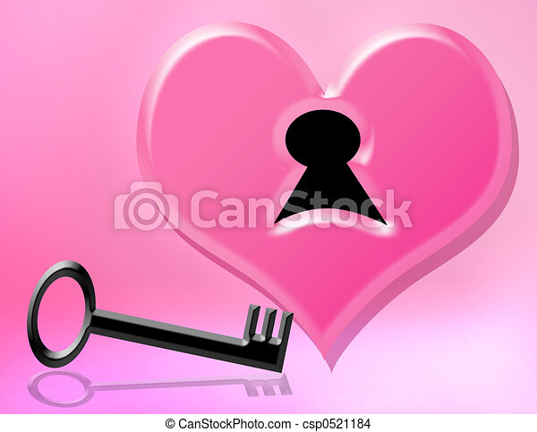 Drawing of key to my heart - black key and pink heart for valentines ...