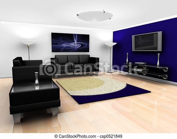 Contemporary lounge interior - csp0521849