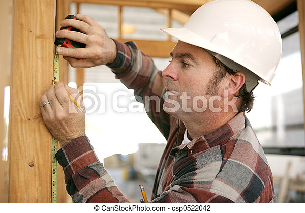 Construction Worker Takes Measurments - csp0522042