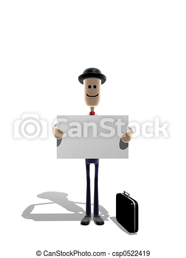 Businessman holding message - csp0522419