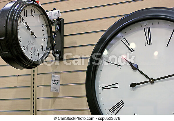Two clocks with differing tmes in retail setting