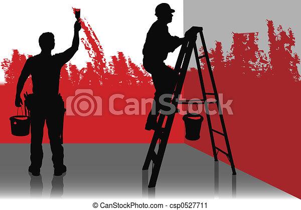 Maler und lackierer clipart  Clipart von maler, zwei - Two, lackierer, gemälde, a, zimmer, in ...
