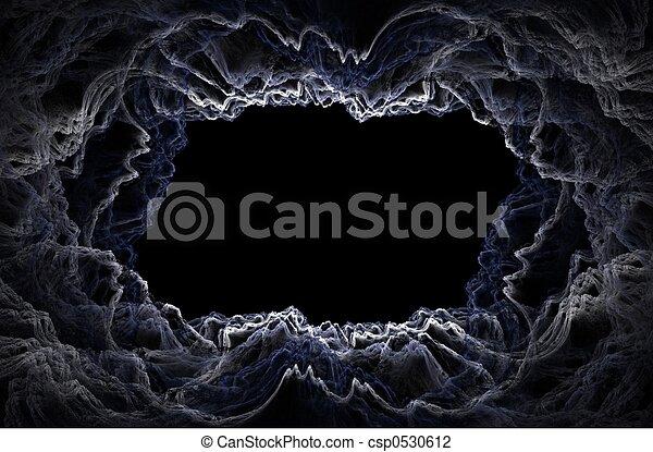 Dark fractal clouds - 3D frame - csp0530612