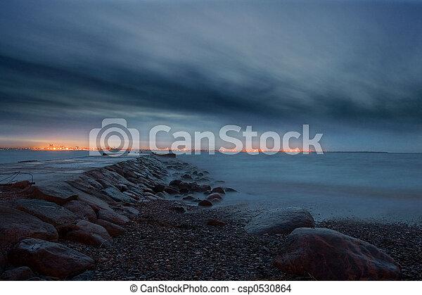 night at baltic sea