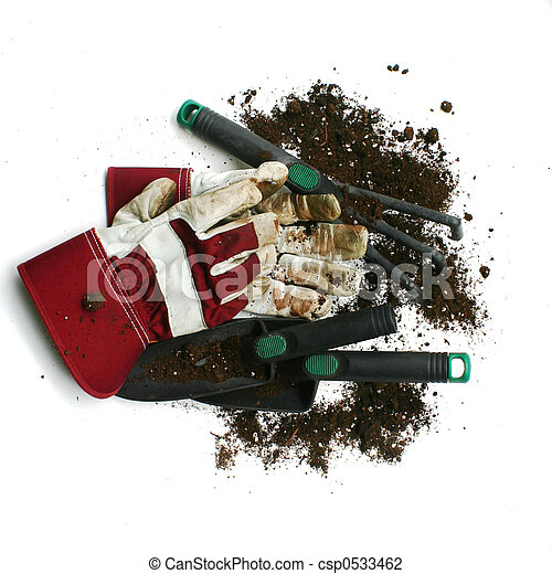 Used gardening / work gloves and tools - csp0533462