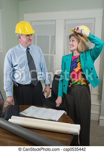 Architect And Client Looking At Blueprints 5 - csp0535442