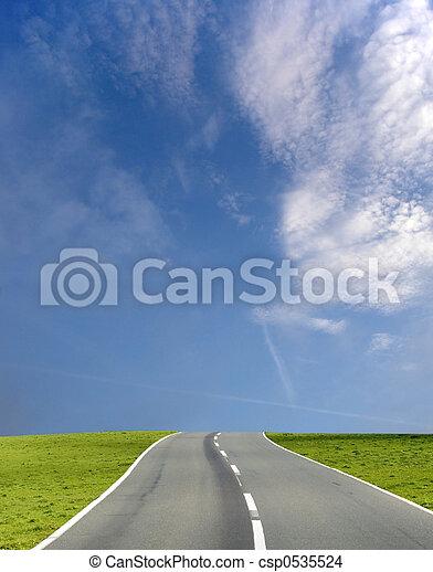 Wide blue sky road - csp0535524
