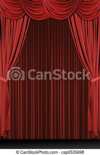 Vertical Red Draped Stage - csp0535698