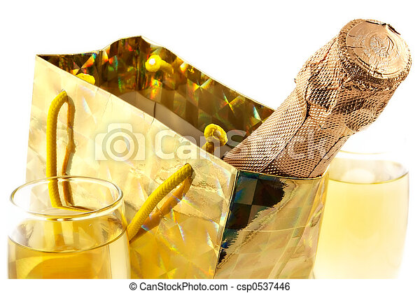 Bottle of a champagne in celebratory packing - csp0537446