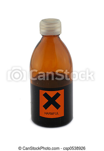 small glass bottle with harmful sign - csp0538926
