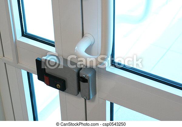 stock fotografie van glas deur moderne glas deur elektrisch slot csp0543250 zoek naar. Black Bedroom Furniture Sets. Home Design Ideas