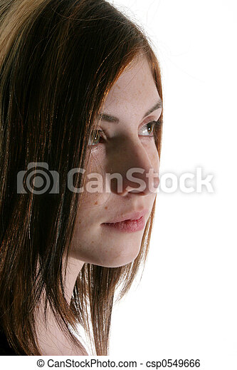 Womans face turned - csp0549666